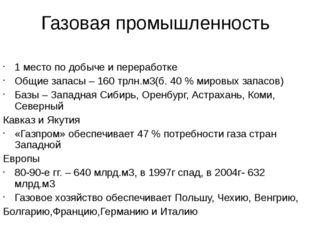 Газовая промышленность 1 место по добыче и переработке Общие запасы – 160 трл
