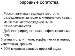 Природные богатства Россия занимает ведущее место по разведанным запасам мине