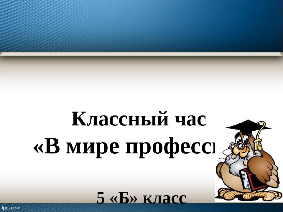 Классный час «В мире профессий» 5 «Б» класс Фатеева Е. М.
