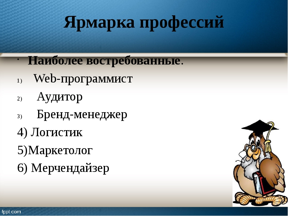 Ярмарка профессий Наиболее востребованные. Web-программист Аудитор Бренд-мене...