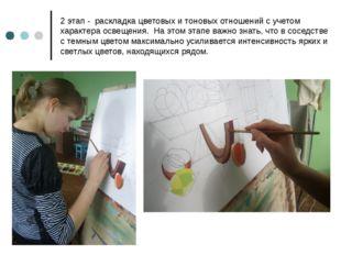 2 этап - раскладка цветовых и тоновых отношений с учетом характера освещения.