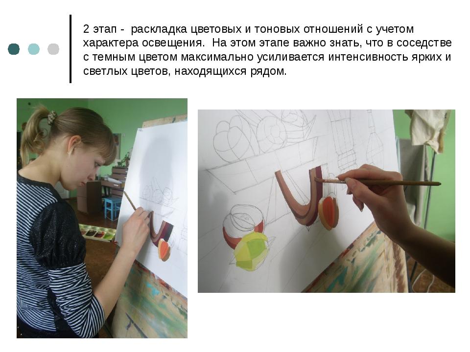 2 этап - раскладка цветовых и тоновых отношений с учетом характера освещения....