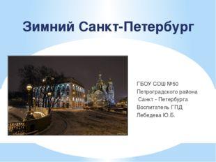 Зимний Санкт-Петербург ГБОУ СОШ №50 Петроградского района Санкт - Петербурга