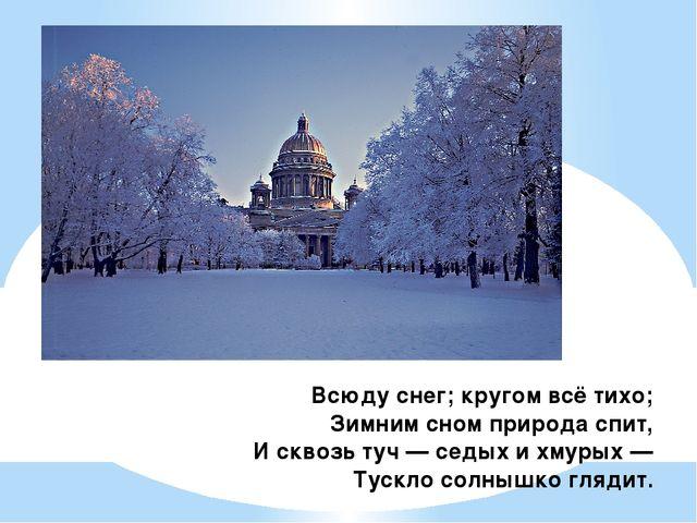 Всюду снег; кругом всё тихо; Зимним сном природа спит, И сквозь туч — седых и...