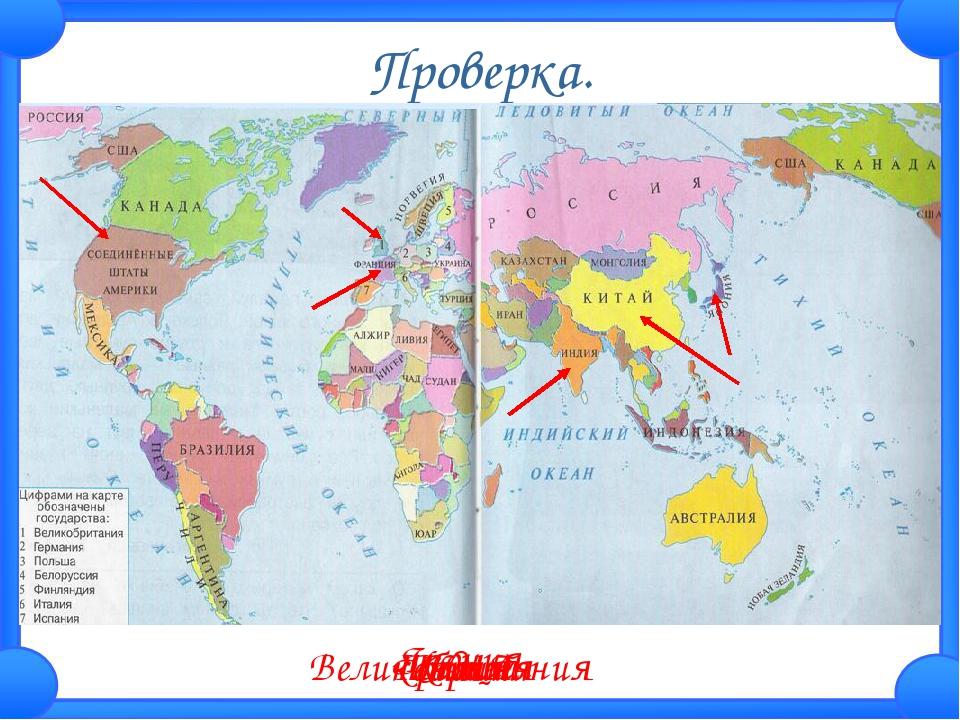 Проверка. Великобритания Франция США Индия Япония Китай