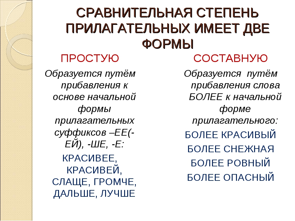 СРАВНИТЕЛЬНАЯ СТЕПЕНЬ ПРИЛАГАТЕЛЬНЫХ ИМЕЕТ ДВЕ ФОРМЫ ПРОСТУЮ Образуется путём...