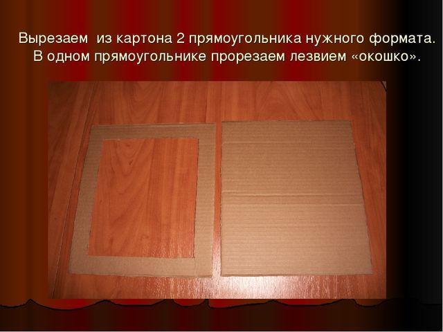Вырезаем из картона 2 прямоугольника нужного формата. В одном прямоугольнике...