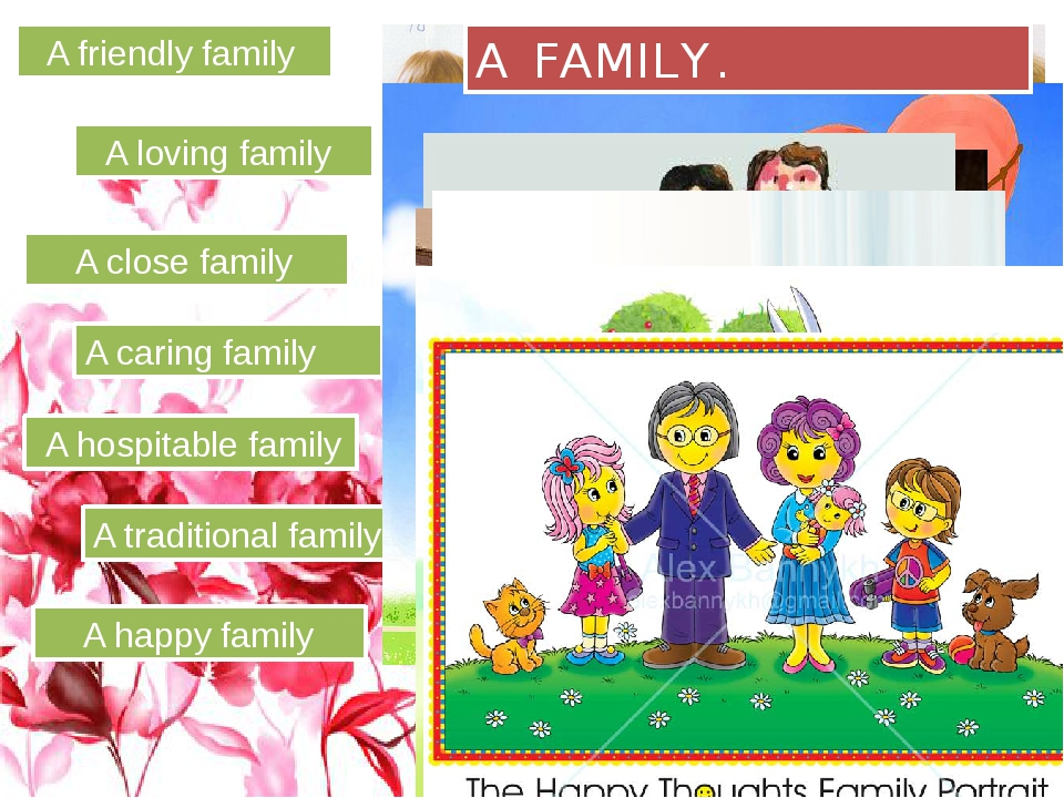 A friendly family A loving family A close family A caring family A hospitabl...