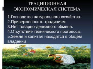 ТРАДИЦИОННАЯ ЭКОНОМИЧЕСКАЯ СИСТЕМА 1.Господство натурального хозяйства. 2.Пр