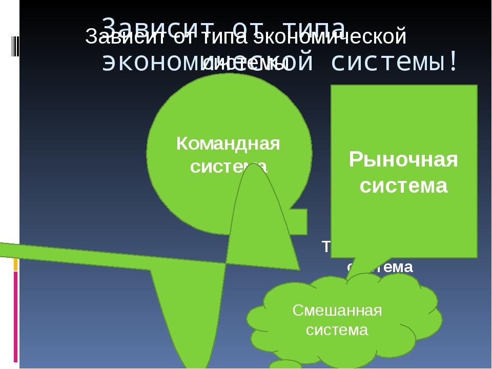 Зависит от типа экономической системы! Зависит от типа экономической системы...