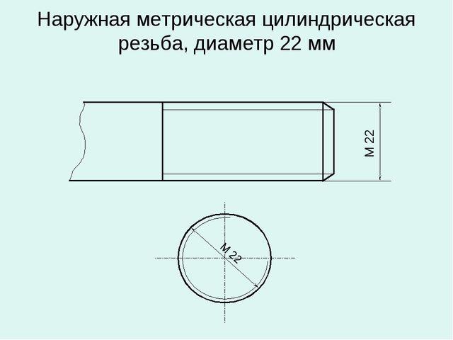 Наружная метрическая цилиндрическая резьба, диаметр 22 мм