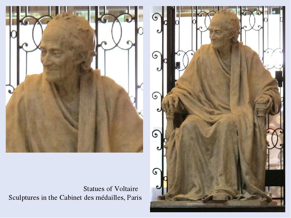 Statues of Voltaire Sculptures in the Cabinet des médailles, Paris