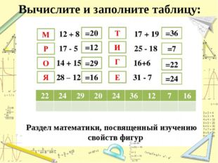 Вычислите и заполните таблицу: Раздел математики, посвященный изучению свойст
