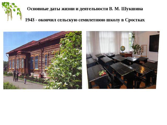 Основные даты жизни и деятельностиВ. М. Шукшина 1943 - окончил сельскую сем...