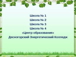 Школа № 1 Школа № 2 Школа № 3 Школа № 4 «Центр образования» Десногорский Энер