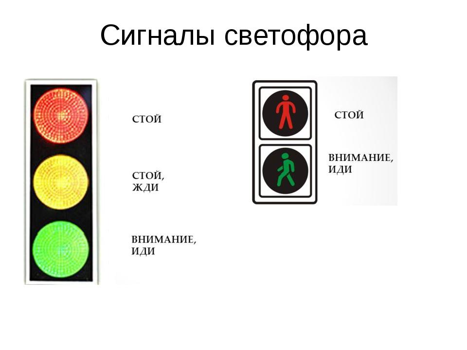 сигналы светофора в картинках с пояснениями реакции