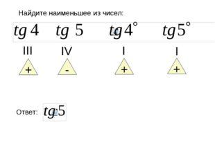 Найдите наименьшее из чисел: + ΙΙΙ + Ι + Ι - ΙV Ответ: