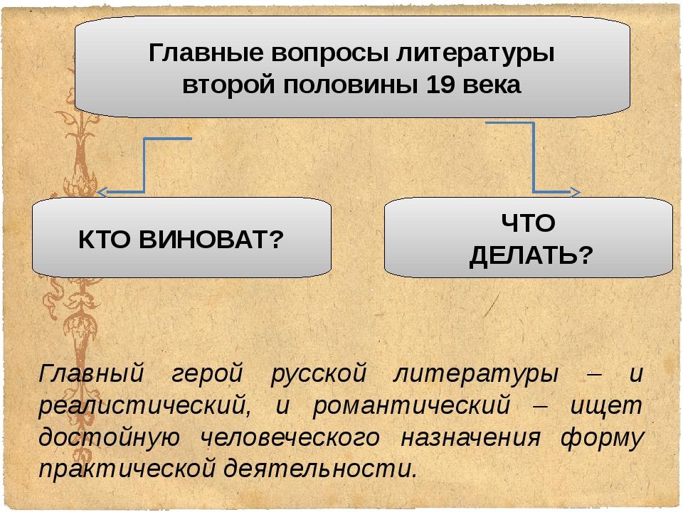 Главные вопросы литературы второй половины 19 века КТО ВИНОВАТ? ЧТО ДЕЛАТЬ? Г...