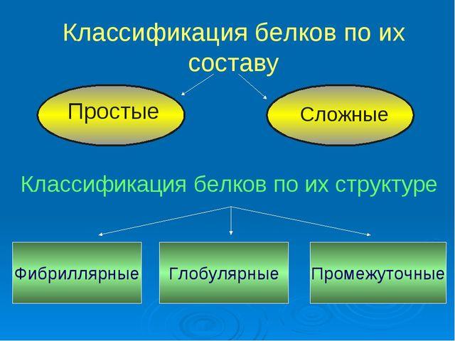 Классификация белков по их составу Классификация белков по их структуре Фибри...