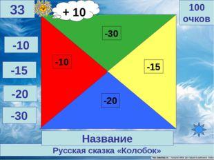 Русская сказка «Колобок» 100 очков 33 Название -10 -15 -20 -30 + 10