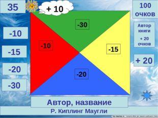Р. Киплинг Маугли 100 очков 35 Автор, название -10 -15 -20 -30 + 20 Автор кни