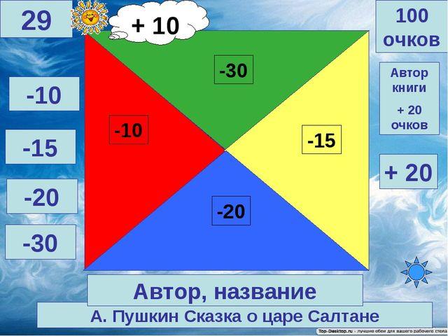 А. Пушкин Сказка о царе Салтане 100 очков 29 Автор, название -10 -15 -20 -30...