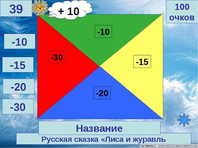 Русская сказка «Лиса и журавль 100 очков 39 Название -10 -15 -20 -30 + 10