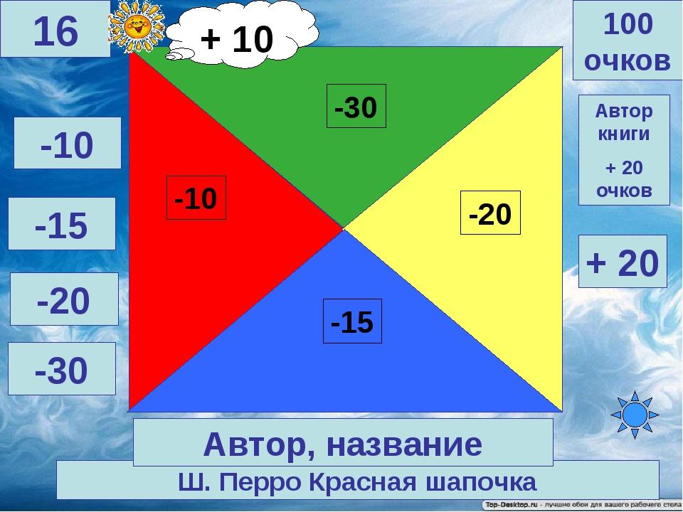 Ш. Перро Красная шапочка 100 очков 16 Автор, название Автор книги + 20 очков...