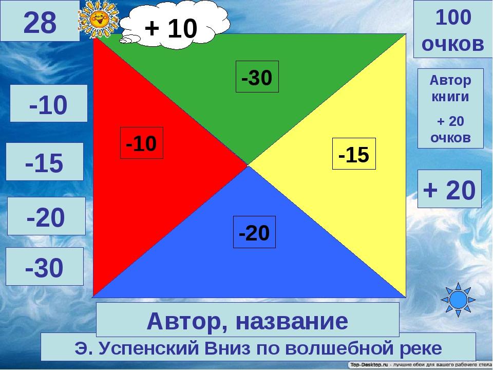 Э. Успенский Вниз по волшебной реке 100 очков 28 Автор, название -10 -15 -20...