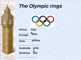 Тhe Olympic rings Africa _______________ Europe ____________ Asia ___________