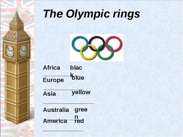 Тhe Olympic rings Africa _______________ Europe ____________ Asia ___________...