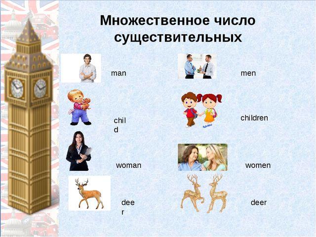 Множественное число существительных man men child children woman women deer d...