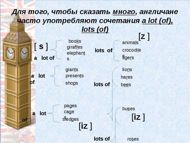 Для того, чтобы сказать много, англичане часто употребляют сочетания a lot (o...