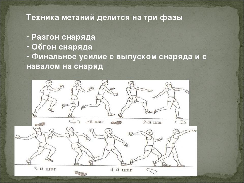 Техника метаний делится на три фазы Разгон снаряда Обгон снаряда Финальное ус...