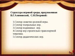 Структура игровой среды, предложенная В.Г.Алямовской, С.Н.Петровой: 1.Сектор