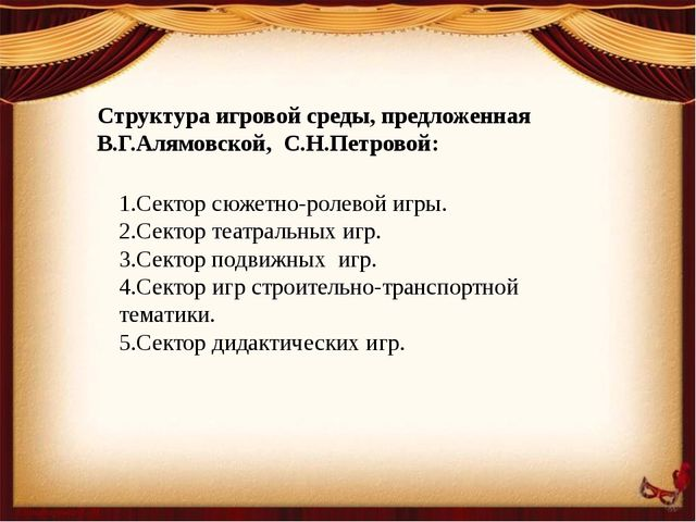 Структура игровой среды, предложенная В.Г.Алямовской, С.Н.Петровой: 1.Сектор...