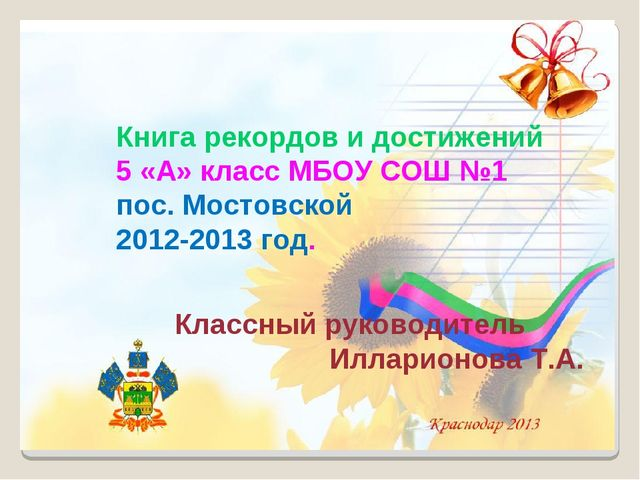 Книга рекордов и достижений 5 «А» класс МБОУ СОШ №1 пос. Мостовской 2012-2013...