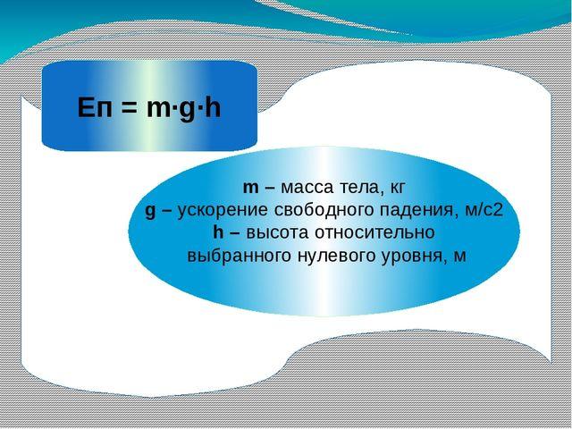 m – масса тела, кг g – ускорение свободного падения, м/с2 h – высота относит...