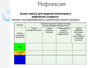 Рефлексия Бланк опроса для ведения мониторинга рефлексии учащихся (можно тран