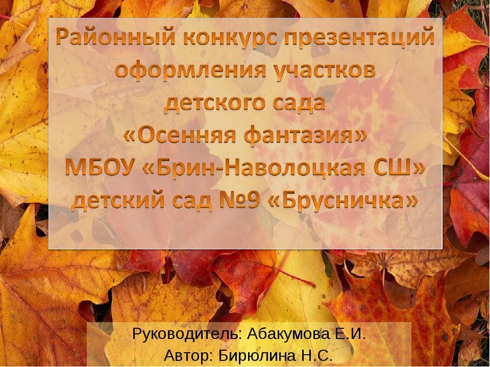 Руководитель: Абакумова Е.И. Автор: Бирюлина Н.С.