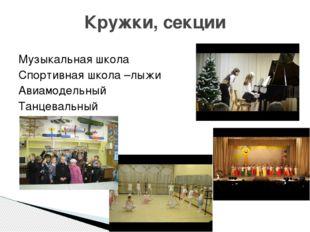 Музыкальная школа Спортивная школа –лыжи Авиамодельный Танцевальный Кружки, с