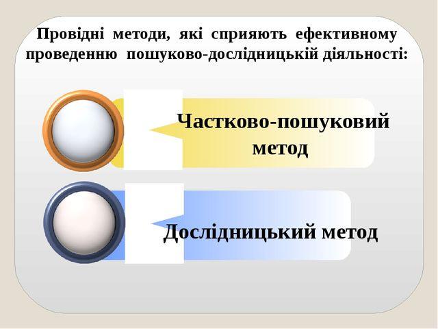 Провідні методи, які сприяють ефективному проведенню пошуково-дослідницькій д...