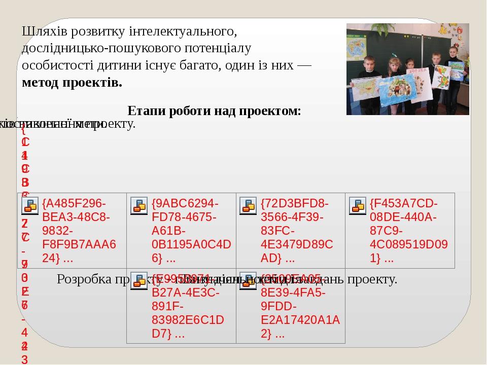 Етапи роботи над проектом: Шляхів розвитку інтелектуального, дослідницько-пош...
