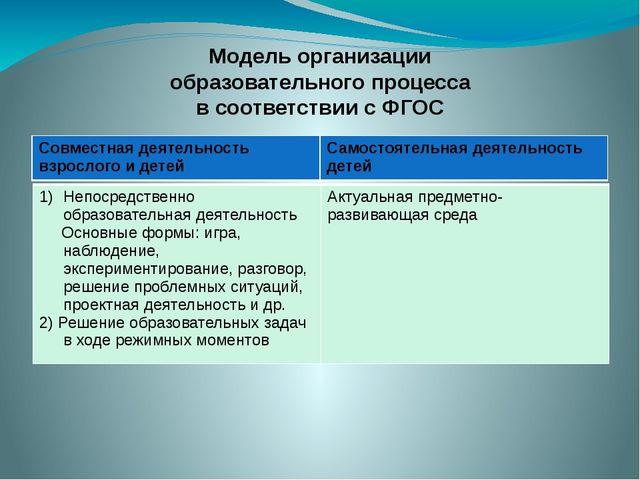 Модель организации образовательного процесса в соответствии с ФГОС Совместна...