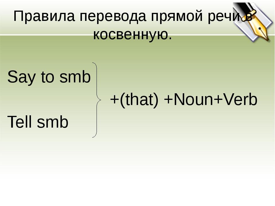 Правила перевода прямой речи в косвенную. Say to smb  +(that) +Noun+Verb Tel...