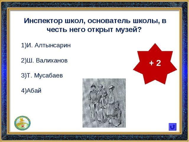Инспектор школ, основатель школы, в честь него открыт музей? И. Алтынсарин Ш....