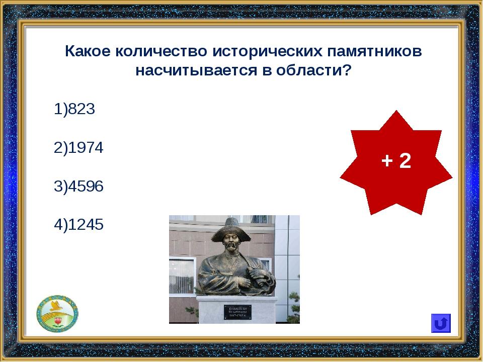 Какое количество исторических памятников насчитывается в области? 823 1974 45...