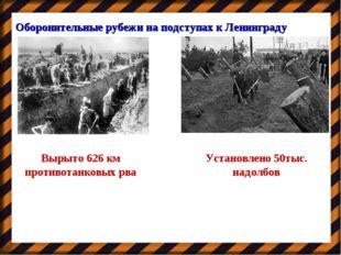 Оборонительные рубежи на подступах к Ленинграду Вырыто 626 км противотанковых