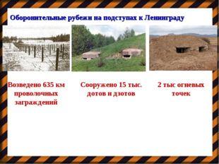 Оборонительные рубежи на подступах к Ленинграду Возведено 635 км проволочных