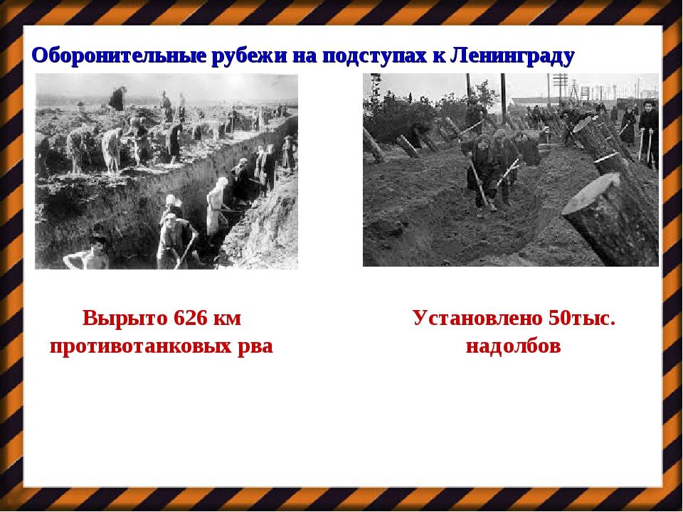 Оборонительные рубежи на подступах к Ленинграду Вырыто 626 км противотанковых...